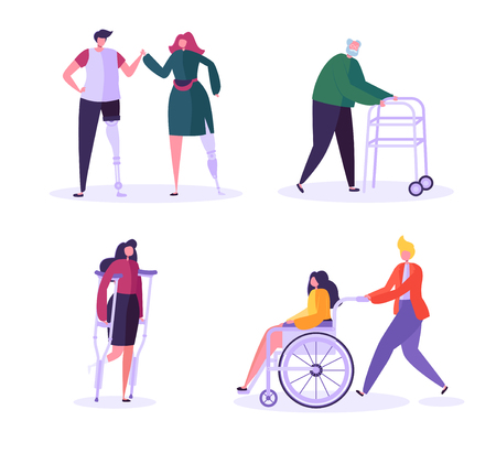 Disabled People Characters. Woman in Wheelchair with Careful Man. Patients with Disabilities, Girl on prostheses. Recovering and Rehabilitation. Vector illustration Illustration