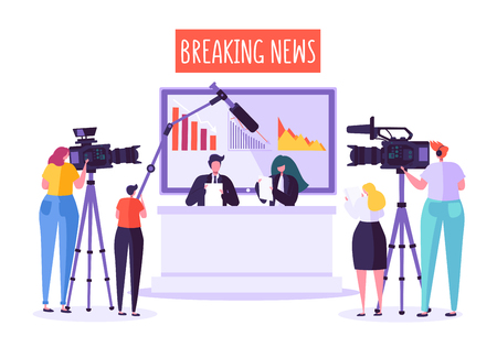 Breaking news tv studio, mass media. Professional journalists characters reading urgent news. TV studio with video cameras, microphones, cameramen and assistants. Live news show. Vector illustration