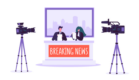 Breaking news tv studio, mass media. Professional journalists characters reading urgent news. TV studio with video cameras, microphones. Live news show. Vector illustration Illustration