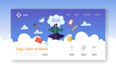Relax at Work, Coffee Break Landing Page Template. Business Woman Character Relaxing Meditating at Office Work for Web Page or Website. Easy Edit and Customize. Vector illustration