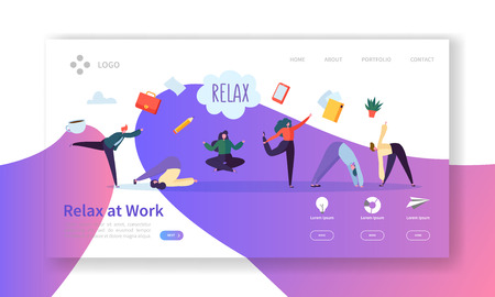 Relax at Work, Coffee Break Landing Page Template. Business People Characters Relaxing Meditating at Office Work for Web Page or Website. Easy Edit and Customize. Vector illustration Ilustração