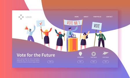 Modèle de page de destination des élections de vote. Concept de réunion politique de personnages d'affaires pour site Web ou page Web. Modification facile. Illustration vectorielle Vecteurs