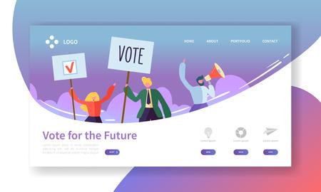 Modèle de page de destination des élections de vote. Concept de réunion politique de personnages d'affaires pour site Web ou page Web. Modification facile. Illustration vectorielle