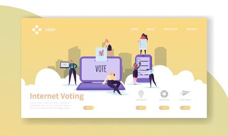Modèle de page de destination des élections de vote. Concept de vote Internet de personnages d'affaires pour site Web ou page Web. Modification facile. Illustration vectorielle Vecteurs