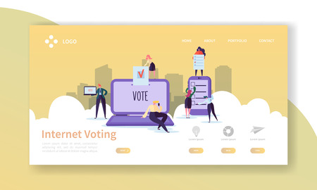 Voting Elections Landing Page Template. Business People Characters Internet Voting Concept for Website or Web Page. Easy Edit. Vector illustration 向量圖像