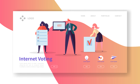 Voting Elections Landing Page Template. Business People Characters Internet Voting Concept for Website or Web Page. Easy Edit. Vector illustration Ilustração
