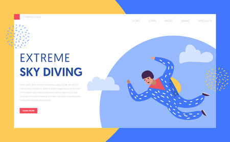 Sky Diving Extreme Sport Landing Page Template. Skydiver Male character with parachute, leisure activity concept for Web Page or Website. Vector illustration
