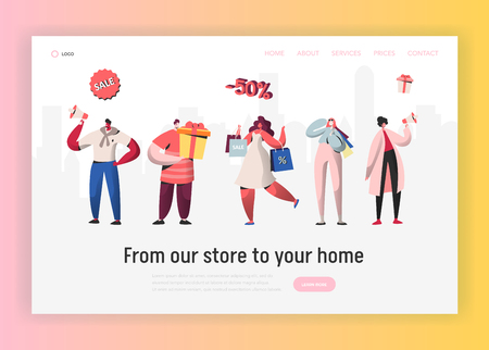 Online Sale Purchases Illustration for landing page, Woman shopping with bags, Man with boxes. People Character for discount website concept template, e-commerce customer in vector