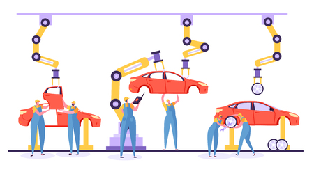 Automated assembly line car production concept. Engineer workers in uniform on car factory. Robotic arm working  on a automotive conveyor. Vector illustration