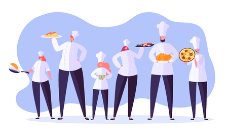 Chef characters set. Cartoon chief cooking in restaurant. Cook with tray and different meals. Food industry. Vector illustration Stock Illustratie