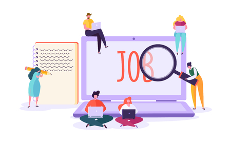 Job search candidate concept. Characters using laptop searching for job. Recruitment agency hiring technology, human resources. Vector illustration Stock Illustratie