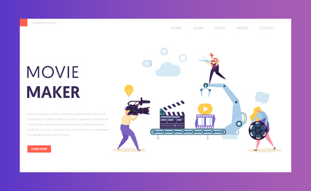 Making Movie, Video Production landing page template. Characters Shooting Film, Motion Picture Camera for website or web page. Vector illustration