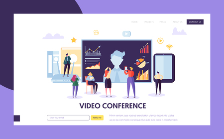 Video conference landing page template. Business People characters communication webinar, online education for website or web page. Vector illustration