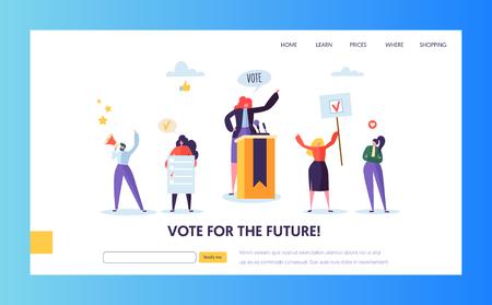 Abstimmung Wahlen Landing Page Vorlage. Geschäftsleute Charaktere Politisches Meeting-Konzept für Website oder Webseite. Einfaches Bearbeiten. Vektor-Illustration Vektorgrafik
