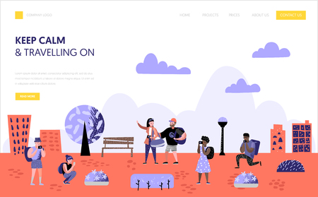 Tourism and travel landing page template. Flat people characters travelling on vacation concept. Man and woman with photo camera for website or web page. Vector illustration