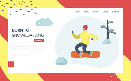 Snowboard Winter Holidays Landing Page Template. Active Man Character snowboarding in Mountains for Website or Web Page. Outdoor Activities Concept. Vector illustration