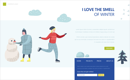 Winter Holidays Landing Page Template. Man character making snowman, woman ice skating for Website or Web Page. Easy edit. Vector illustration Banque d'images - 114304226