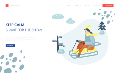 Winter Holidays Landing Page Template. Woman character sledding on snow mountains for Website or Web Page. Easy edit. Vector illustration