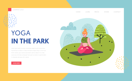 Yoga in park landing page template. Outdoor workout active people characters meditating, doing yoga for website or web page. Easy edit. Vector illustration  イラスト・ベクター素材