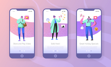 Social marketing onboarding mobile app screens. Man and woman characters promoting online in social network using smartphone and megaphone for website or web page. Vector illustration