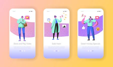 Pantallas de aplicaciones móviles de integración de marketing social. Personajes de hombre y mujer que se promocionan en línea en una red social usando un teléfono inteligente y un megáfono para un sitio web o página web. Ilustración vectorial