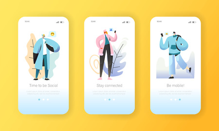 Social media onboarding mobile app screens. Young people characters chatting online in social network using smartphone and laptop for website or web page. Vector illustration Illustration