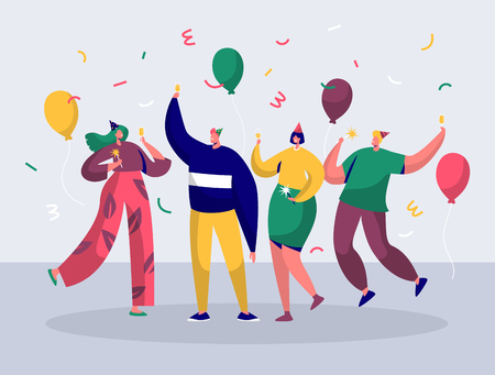 Group of joyful people celebrating New Year or Birthday party. Man and woman characters in hats having fun and having toast with confetti and balloons. Vector illustration Ilustração
