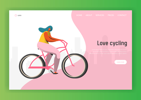 Cycling landing page template. Happy woman character riding bicycle, healthy lifestyle concept for website or web page. Easy edit. Vector illustration