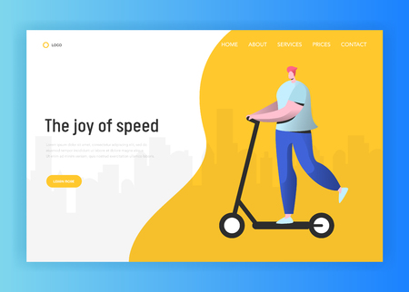 Active people landing page template. Happy man character riding electric scooter, healthy lifestyle concept for website or web page. Easy edit. Vector illustration