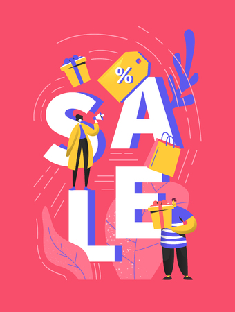 Big sale poster with customers and shopping bags. Man and woman characters on discount event for banner, ads, promotion flyer. Vector illustration