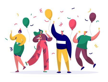 Gruppe fröhlicher Menschen, die Neujahr oder Geburtstagsfeier feiern. Mann- und Frauenfiguren in Hüten, die Spaß haben und mit Konfetti und Luftballons anstoßen. Vektor-Illustration