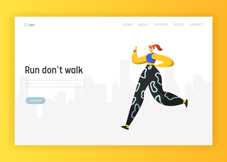 Running people landing page template. Cardio exercises fitness and workout outdoors concept. Woman training healthy lifestyle for website or web page. Vector illustration  イラスト・ベクター素材