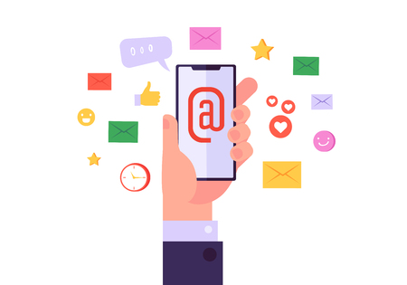 Email Network Marketing Digital Icon Set. Business Global Advertising Content on Mobile Phone. Modern Internet Technology. Flat Cartoon Vector Illustration