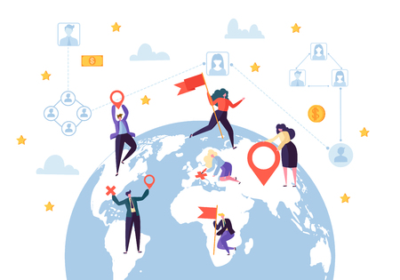 Global Business Social Profile Connection. Worldwide Businessman Communication Network Concept. Earth Globe Design. Flat Cartoon Vector Illustration Vectores