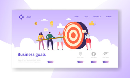 Business Goal Achievement Landing Page. Website Layout with Flat People Characters Aiming Target. Success Concept for Website or Web Page. Flat Cartoon Vector Illustration Ilustração
