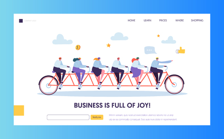 Leader Businessman Pointing Forward Direction Landing Page. Team on Bike Following CEO to Success Target. Goal Achievement Concept for Website or Web Page. Flat Cartoon Vector Illustration