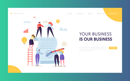 Business Character Signing Contract Landing Page. People Making Agreement about Cooperation or Partnership for Website or Web Page. Flat Cartoon Vector Illustration