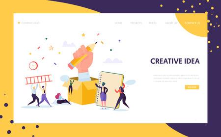 Copywriter Creative Pencil Idea Landing Page. Business Creativity Concept for Website or Web Page. Blog Advertising. Flat Cartoon Vector Illustration