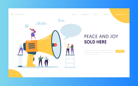 Advertising Mass Marketing Landing Page Website Template Design. Woman Scream Loudspeaker to Group of People for Web Page. Flat Cartoon Vector Illustration Character Illustration