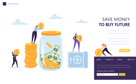 Save Money Safe Landing Page Template. Man putting Dollar Coin into Jar. Financial Secure Concept Banner for Website or Web Page. Flat Cartoon Vector Illustration