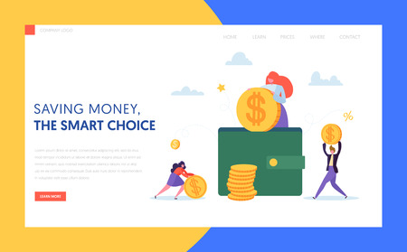 Coin in Wallet Online Cash Landing Page. Woman Putting Dollar to Safe Case. Online Saving and Payment Concept for Website or Web Page. Flat Cartoon Vector Illustration Foto de archivo - 123178974
