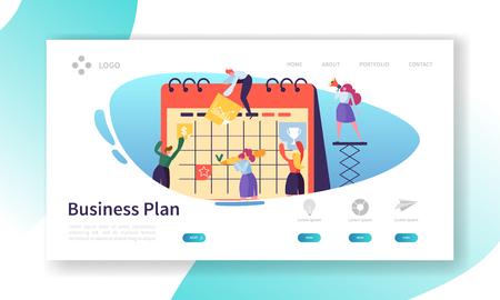 Business Calendar Plan Landing Page Template. Schedule Concept with Characters Working with Planner. Flat People Teamwork with Timetable for Website or Web Page. Flat Cartoon Vector Illustration