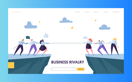 Business Competition Challenge Landing Page Template. Rivalry Concept. Flat Businesspeople Character Pulling Rope for Website or Web Page. Corporate Conflict. Flat Cartoon Vector Illustration 일러스트