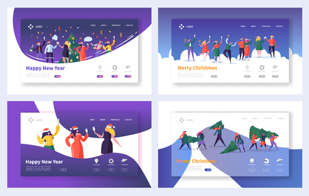 Business Corporate Christmas Landing Page Set. Happy People Characters Office Team Celebrate New Year for Website or Web Page. Flat Cartoon Vector Illustration