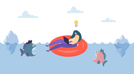 Creative Idea Save from Business Competition. Businesswoman Character Swim on Innertube above Danger Fish. Fearless Creativity Concept. Flat Cartoon Vector Illustration