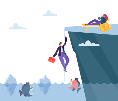 Hard Danger Way to Financial Prosperity. Businessman Climb Mountain above Sea with Predatory Fish to Find Money Bonanza. Flat Cartoon Vector Illustration