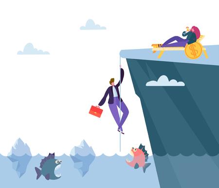 Hard Danger Way to Financial Prosperity. Businessman Climb Mountain above Sea with Predatory Fish to Find Money Bonanza. Flat Cartoon Vector Illustration