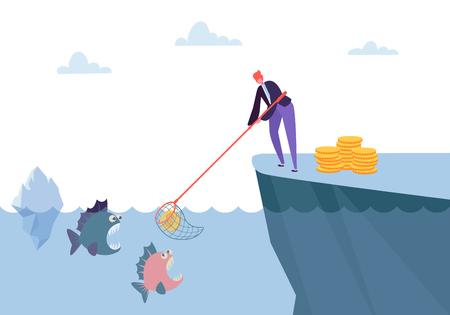 Concurrence difficile pour gagner de l'argent. Personnage de femme attrapant une pièce d'un dollar de la mer pleine de métaphore du poisson de danger. Illustration vectorielle de dessin animé plat