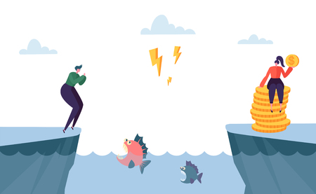 Dangerous Complicated Way to Money Profit. Man Character Jump over Sea full of Angry Fish. Hard Way to Prosperity Metaphor Concept. Flat Cartoon Vector Illustration Vecteurs