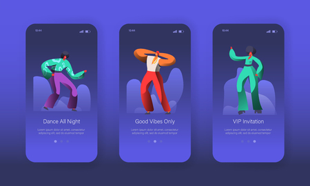 Dancing Disco Characters Mobile App Onboard Screen Page Set. Happy Man and Woman have Fun. Music Club Dancer Concept for Website or Web Page. Flat Cartoon Vector Illustration
